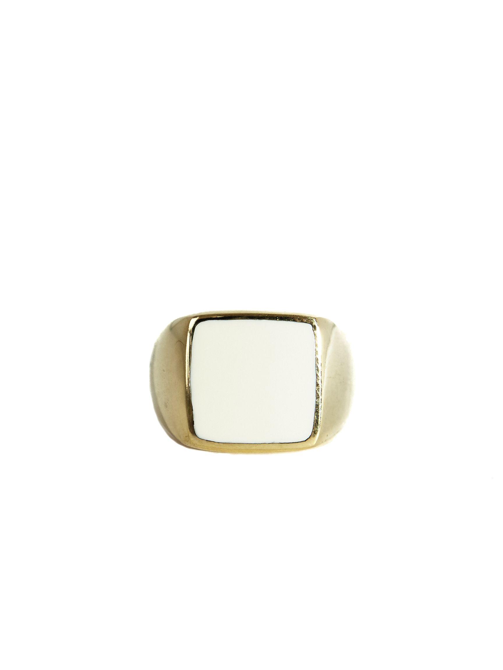 Square Resin Large Ring Gold White   Mimi Et Toi