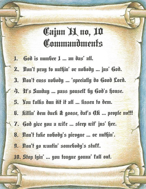 Cajun 10 Commandments Sign Perfect For Framing And Wall Art 8 1 2 X 11 Inches Choose From Two Different Fonts Pl 10 Commandments Wall Art 10 Things