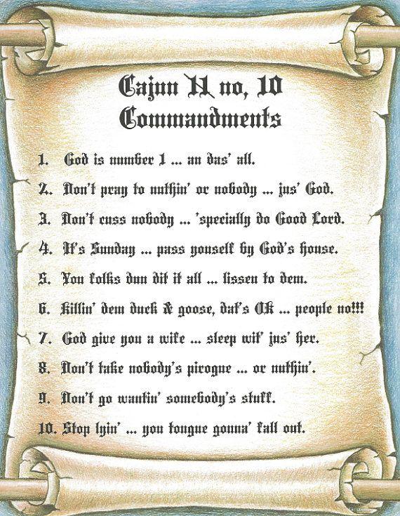 Cajun 10 Commandments Sign- Perfect for framing and wall art 8 1/2 x ...