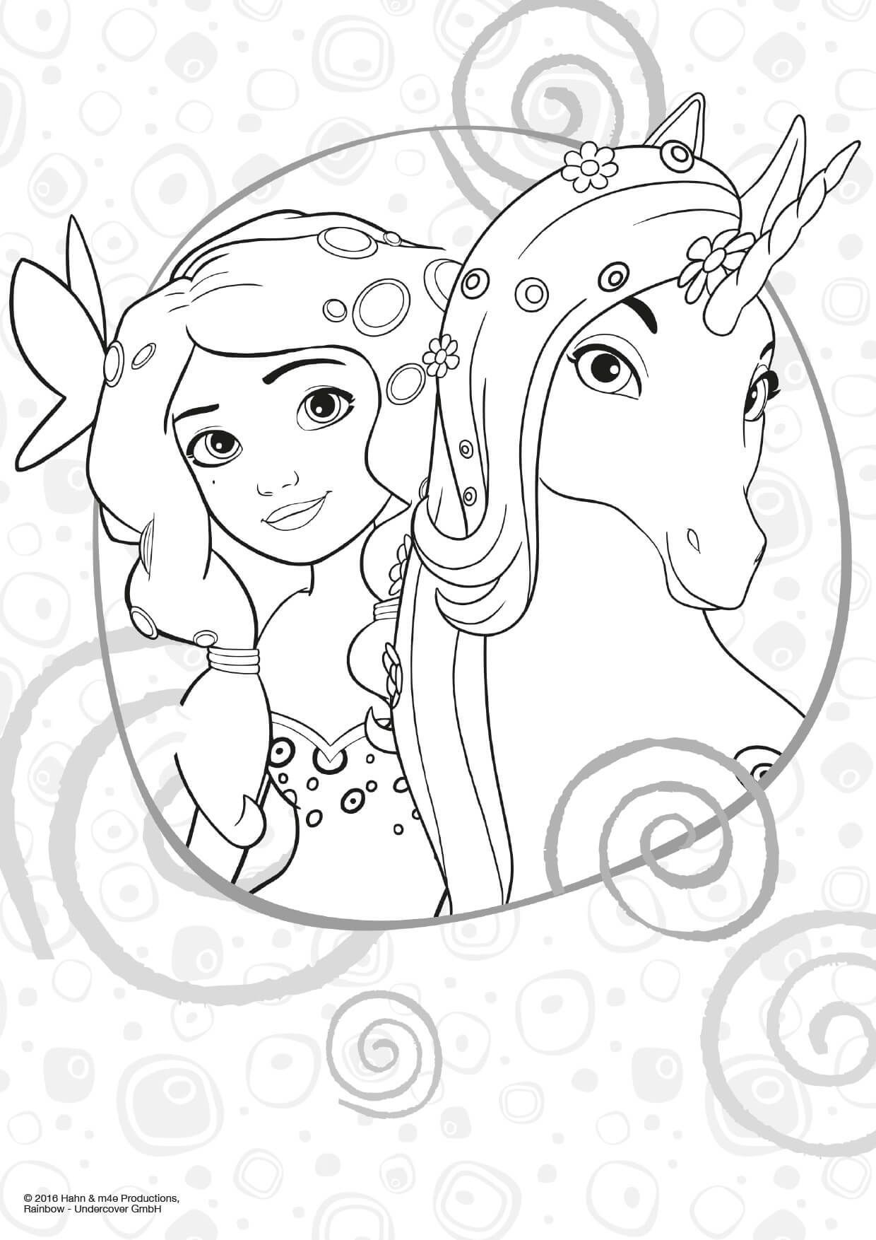 Mia & Me Malvorlagen  Unicorn coloring pages, Horse coloring