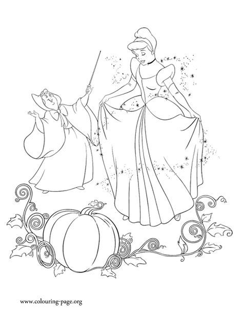 Look The Godmother Fairy Uses Her Magic And Transforms Cinderella Have Fun Coloring This Beaut Cinderella Coloring Pages Coloring Books Disney Coloring Pages