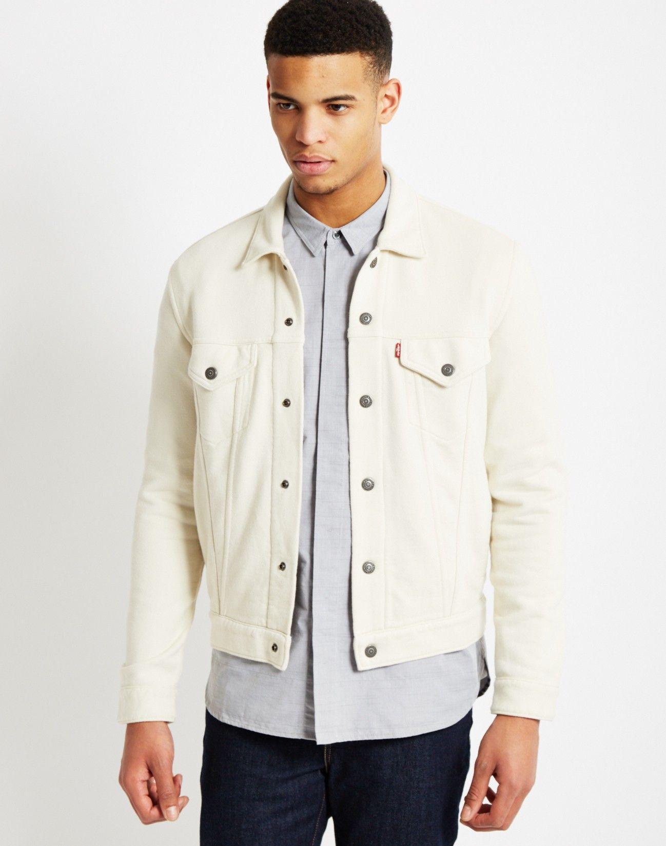 Levi's French Terry Trucker Jacket White   Shop men's clothing ...