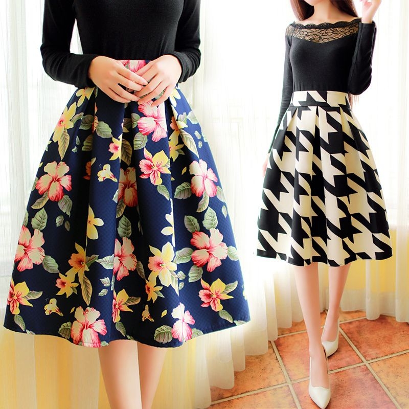 Korean version of the new winter fashion retro floral pleated ...