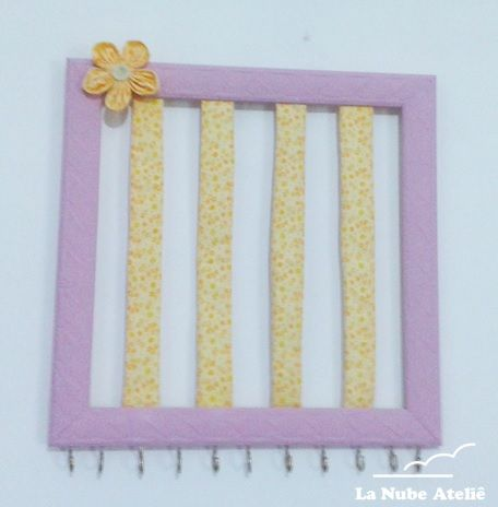 Porta presilha e faixas de cabelo para meninas - flor de fuxico