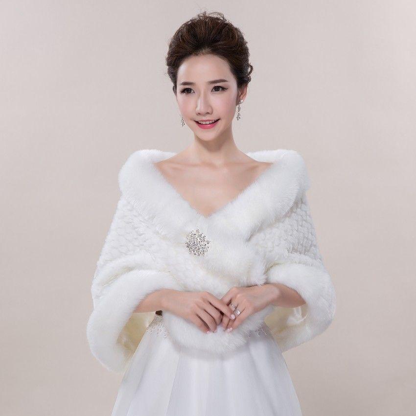 New Fashion Ruffle Beads Elegant Cheap Warm Bridal Cape White Winter Fur Coat Women Wedding Jacket