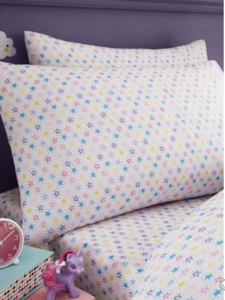 4bc015d3450 Παιδικό Σεντόνι Μαξιλαροθήκη Σετ με Πολύχρωμα Αστέρια για Μονό Κρεβάτι -  memoirs.gr