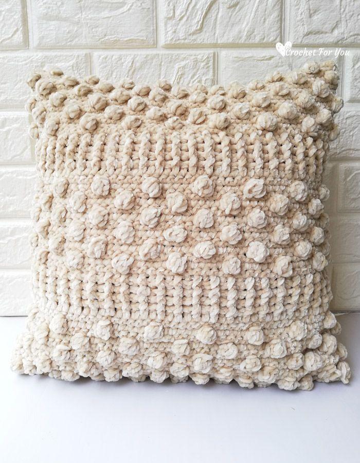 Sandy Bobble Crochet Velvet Throw Pillow Free Pattern - Crochet For You