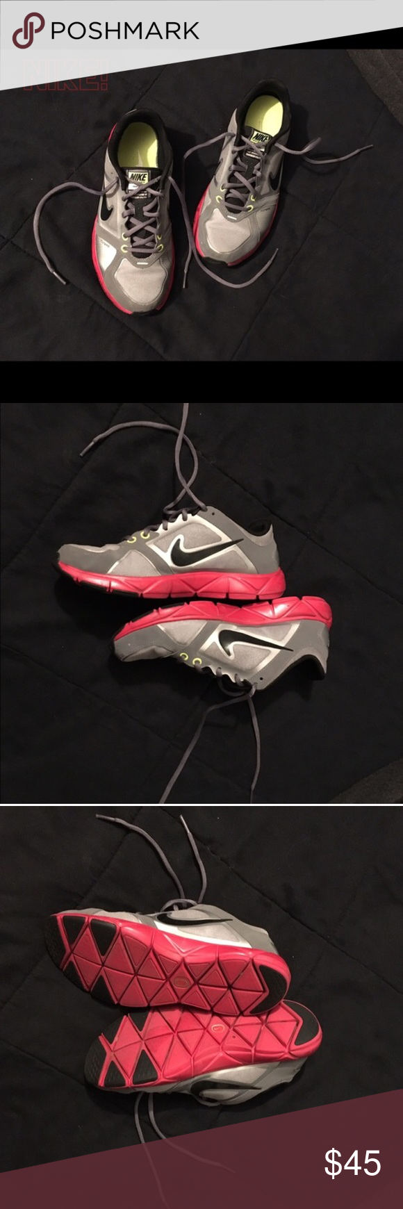buy popular 34b73 04586 Nike trainers Grey, black, and red trainers. Lightly worn with tons of life  left! Reposhing because they are too small for me!! Women s size 8 Nike  Shoes ...