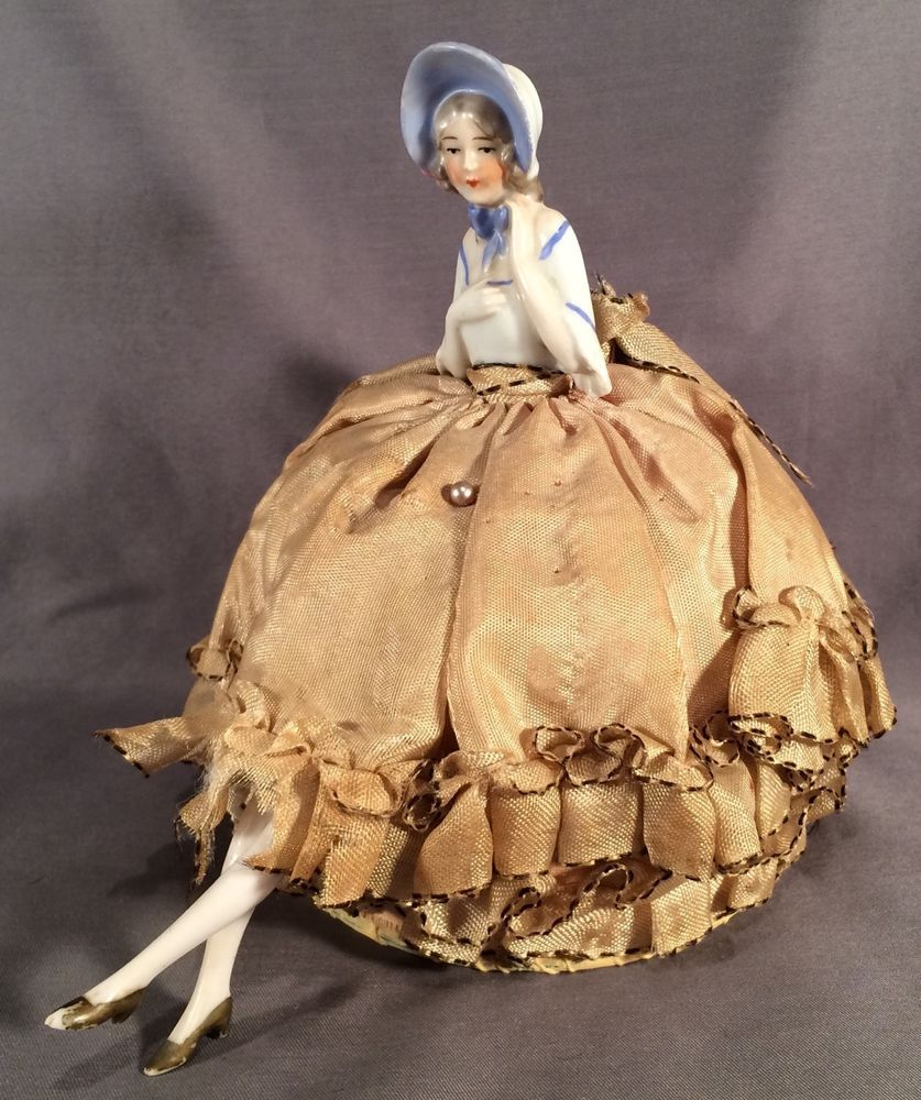 FINE ANTIQUE GERMANY PORCELAIN PINCUSHION HALF DOLL BLUE BONNET LADY