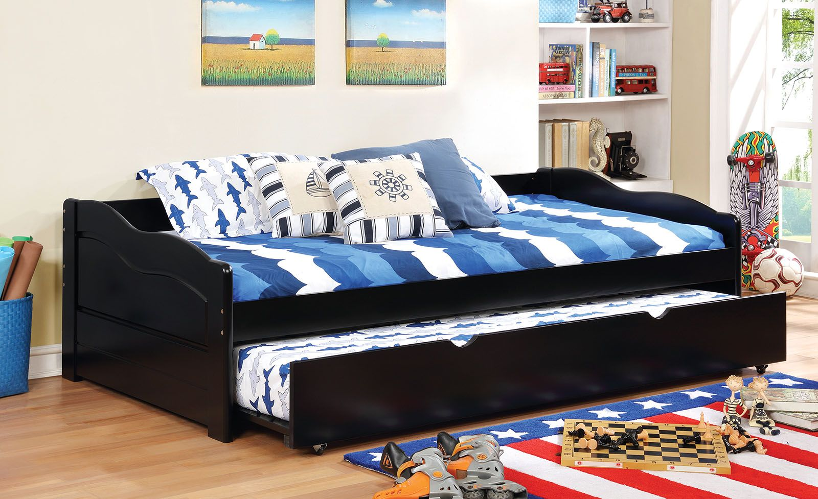 Sunset Collection 1737bk Black Wooden Twin Daybed With Trundle In