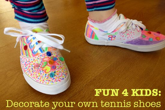 d36f43c9ddc5 Kid Fun  Decorate Your Own Tennis Shoes from Mom to 2 Posh Lil Divas ...