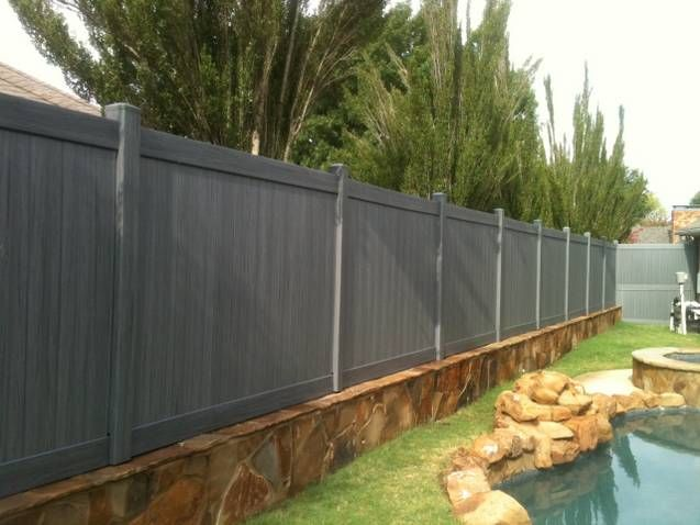 Vinyl Fence And Retaining Wall Backyard Fences Front Yard Fence Fence Design