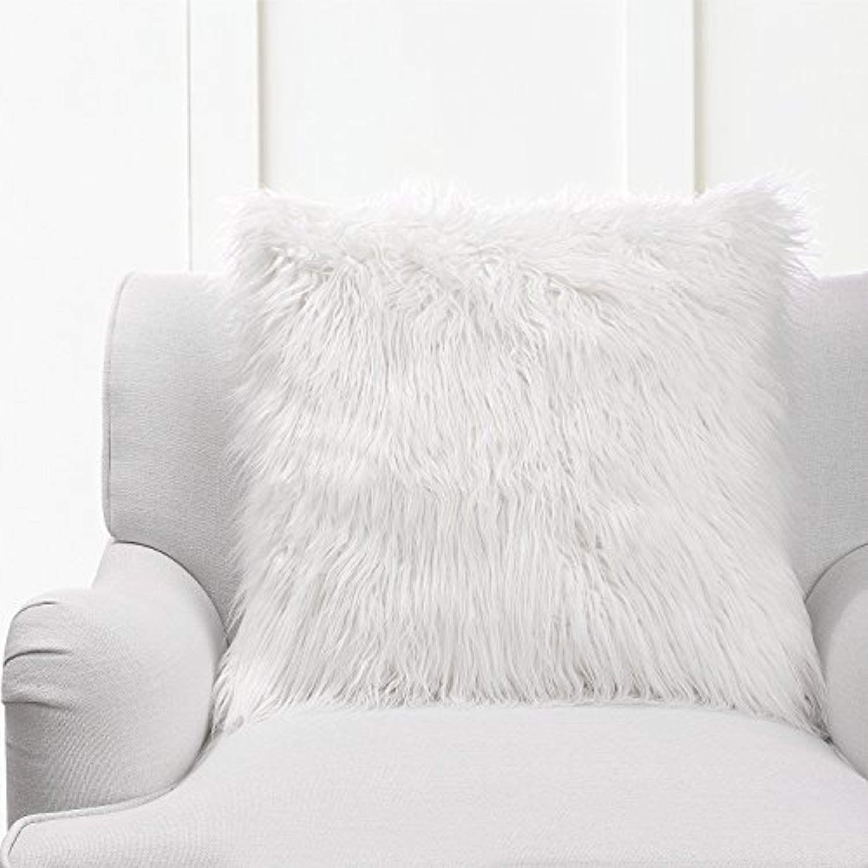 Phantoscope Decorative Throw Pillow White Fur with
