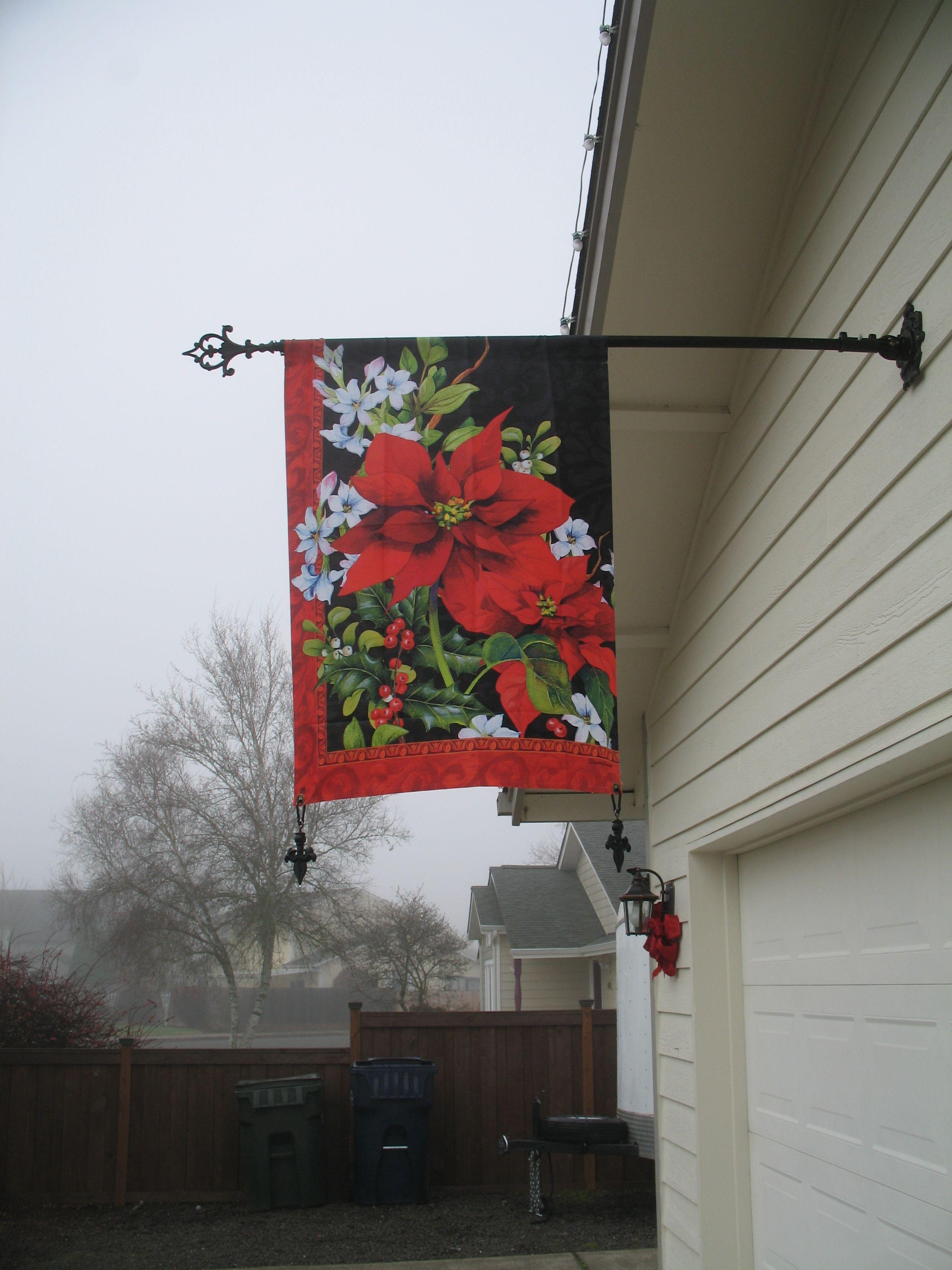 Custom flag pole i made by adding a fleur de lis finial i