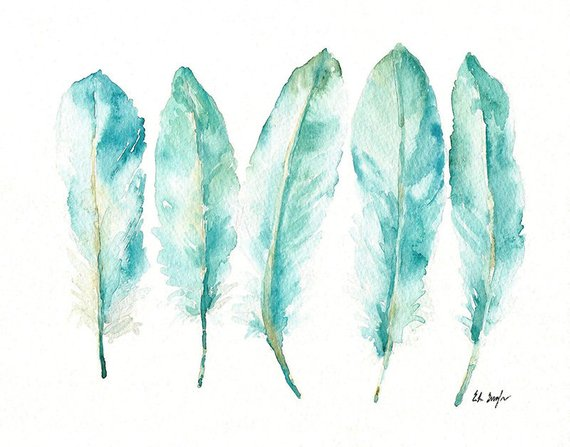 Blue Watercolor Feathers Feathers Print Giclee Print Turquoise