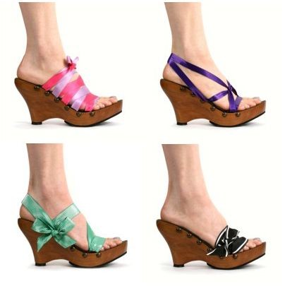 Mohop – Cherry Wedge Platform Sandal, sustainable wood and change the ribbons for different looks, eco friendly Summer shoes