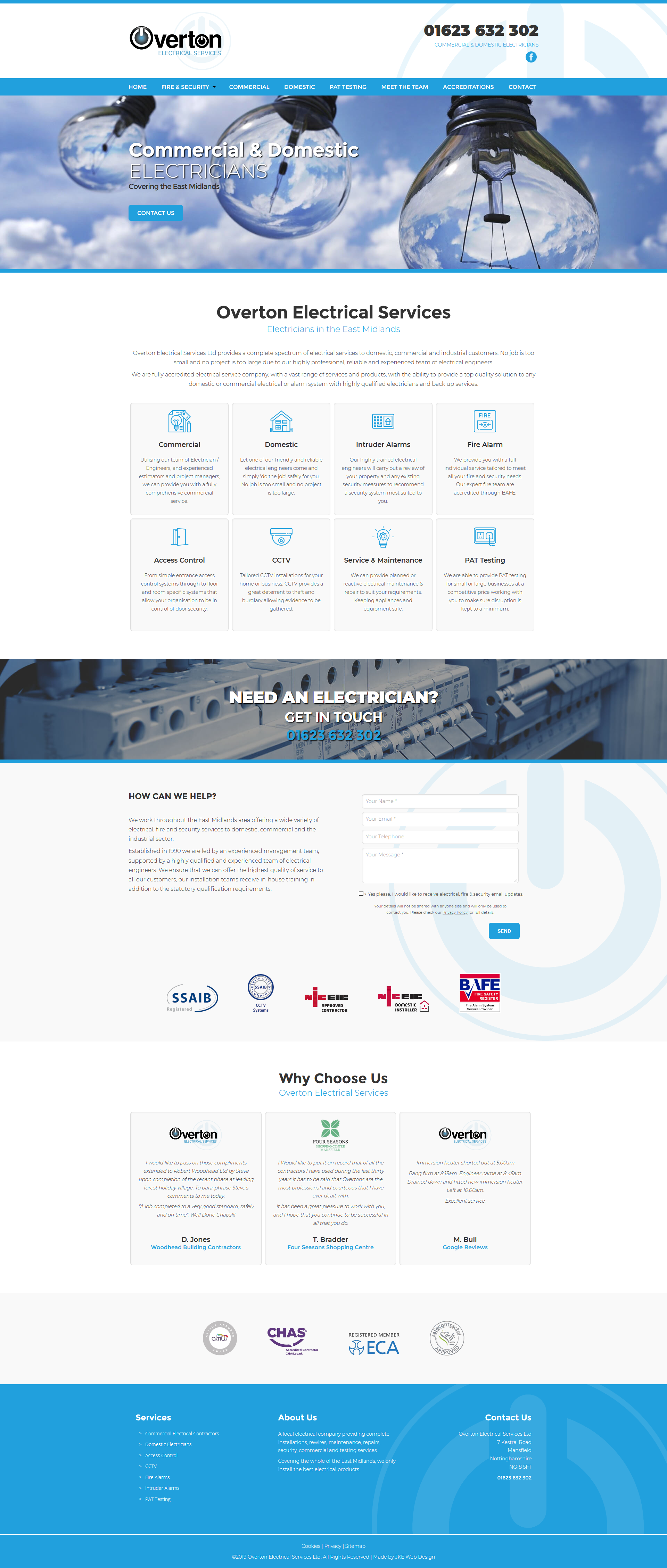 A Blue And White Website Design For An Electrical Contracting Company Contracting Company Web Design Responsive Web Design