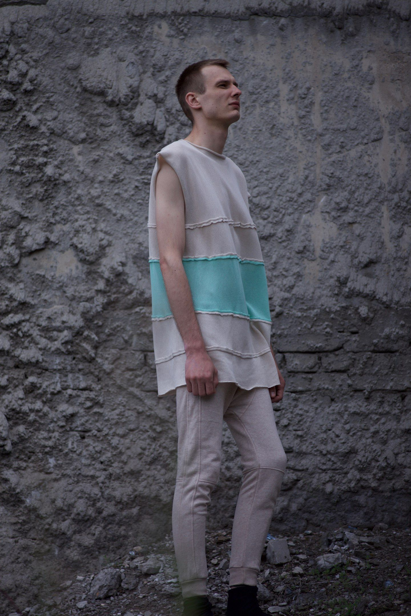 Futuristic Clothing Apocalyptic Unisex Knit Non Sleeve Long Tee Shirt White Turquoise Cotton Made in Germany Minimal Designer NAANwear YJYGlAkIl