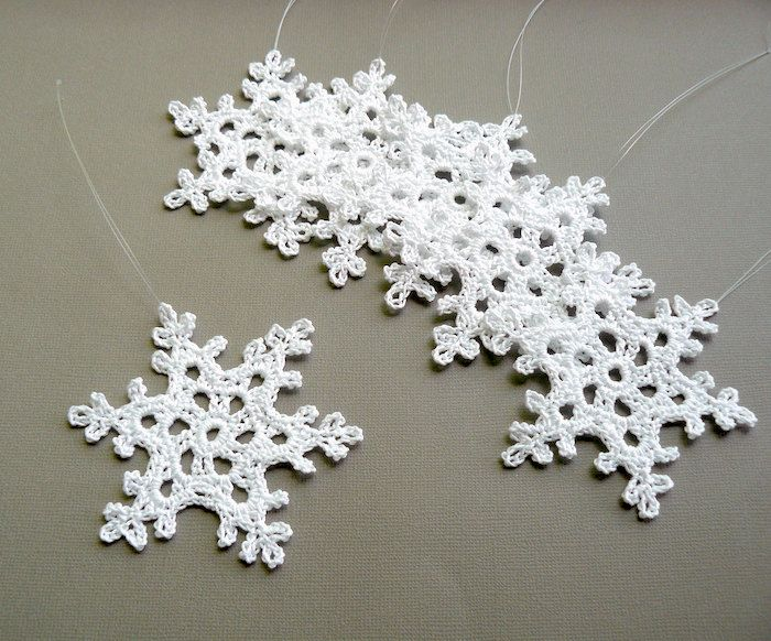 6 Crochet Christmas Ornaments -- Large Snowflake B90, in White ...