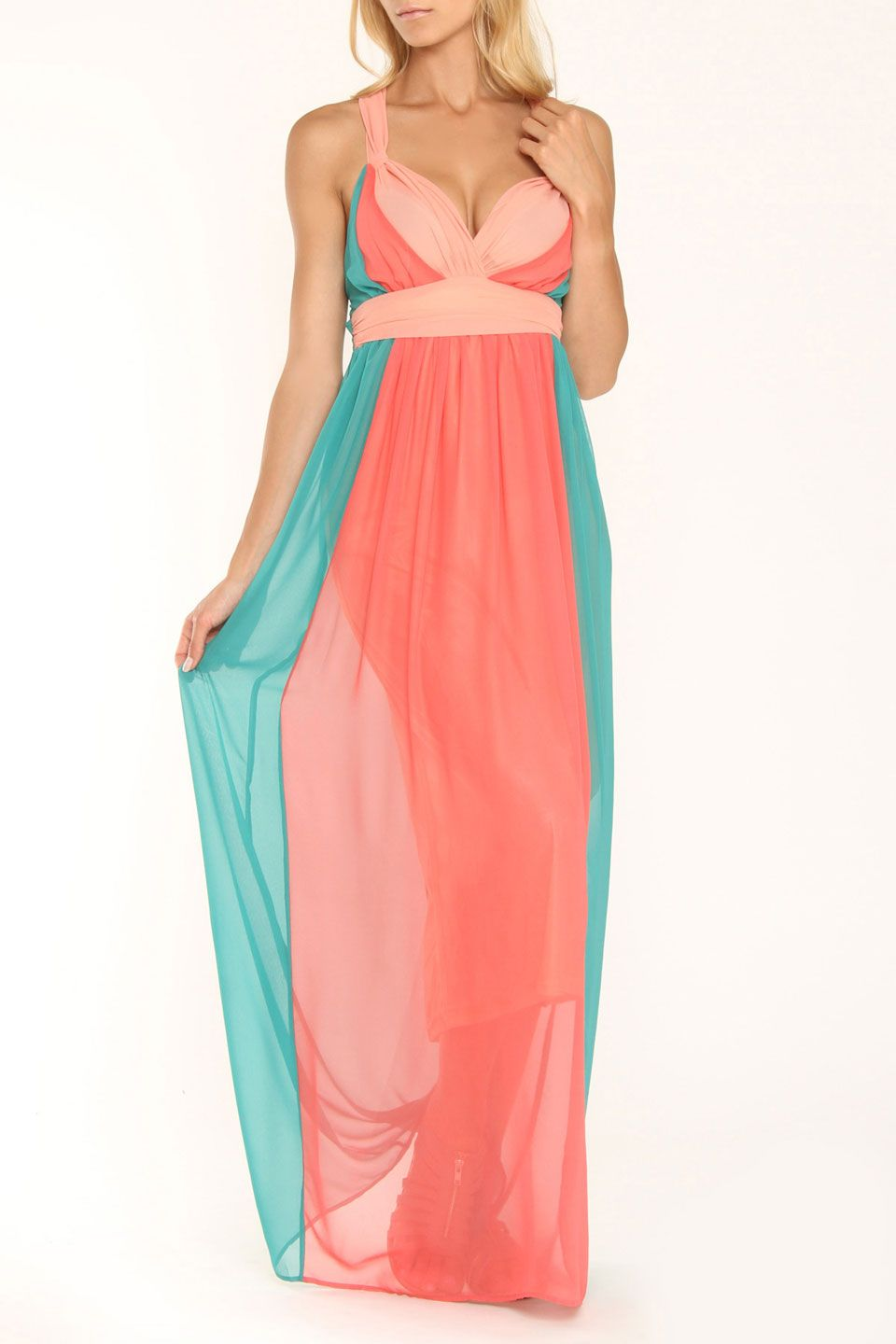 Andree Courtney Maxi Dress In Teal Orange Beyond The Rack Cuuutteeee