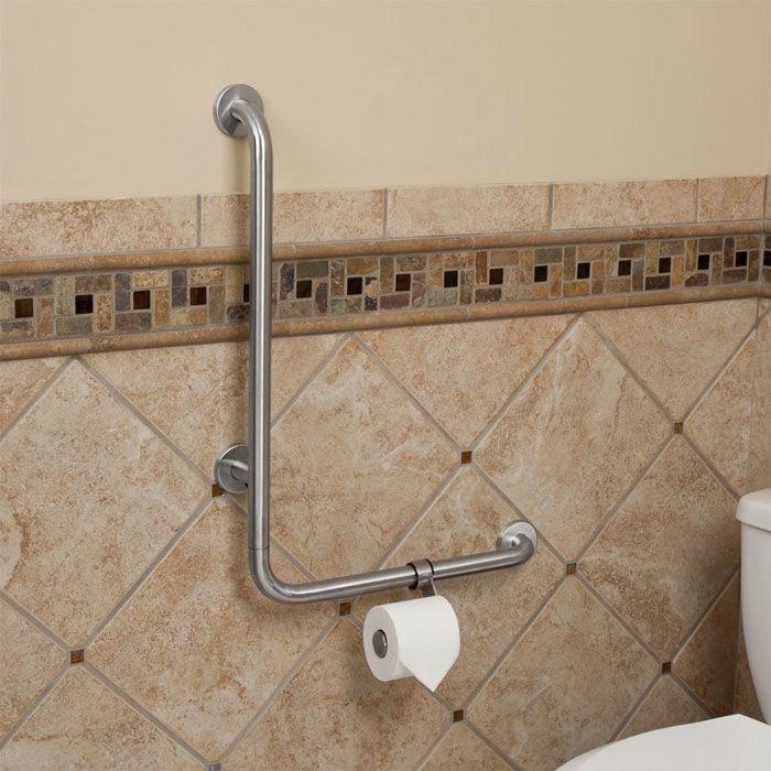 Pickens L Shape Grab Bar With Toilet Paper Holder Shower Grab