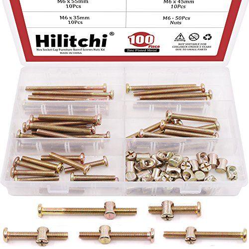 Hilitchi 100-Pcs M6 x 35/45/55/65/75mm Zinc Plated Hex Drive Socket