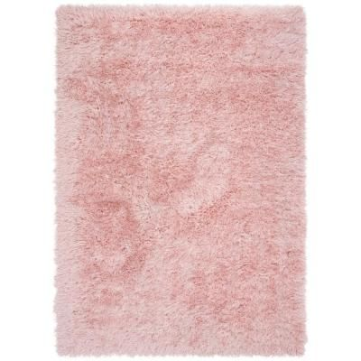 Well Woven Kuki Chie Glam Solid Textured Ultra-Soft Plush Pink 2 ft. 3 in. x 7 ft. 3 in. Runner Two-