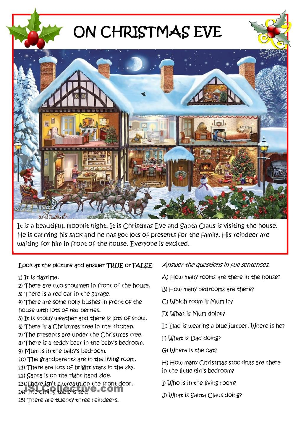 On Christmas Eve. | ESL worksheets of the day | Pinterest | English ...