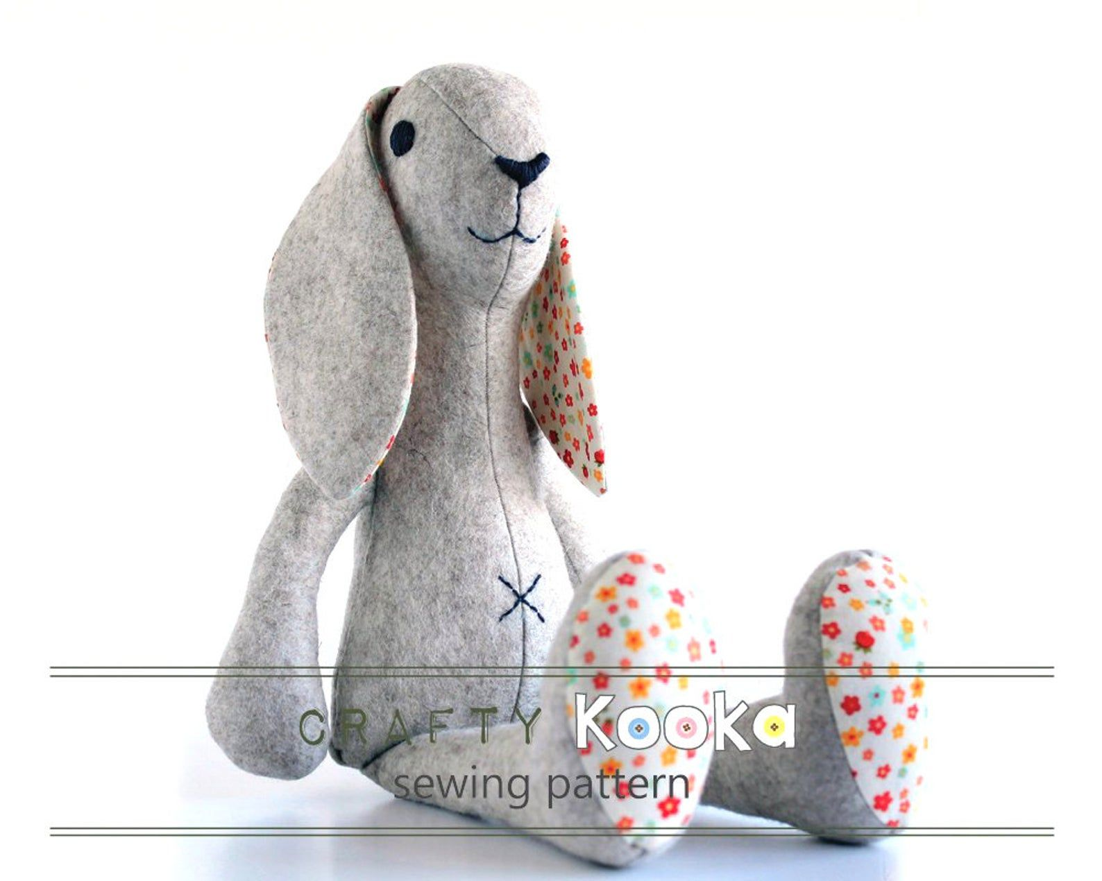 Bunny plush sewing pattern, sewing tutorial, toy sewing pattern  - instant download pdf pattern - sewing projects #bunnyplush