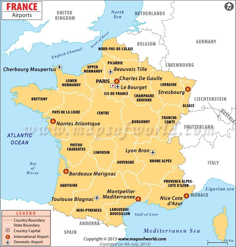 Map Of France Including Airports