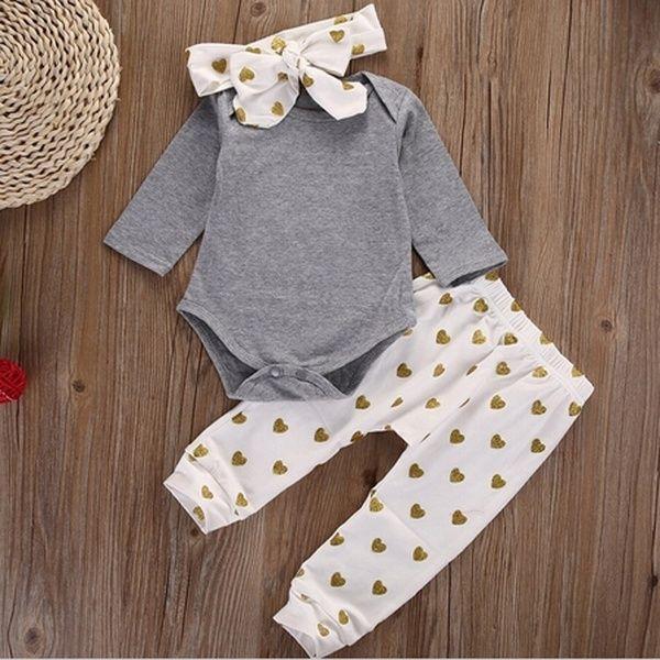 Newborn Kids Baby Girls Clothes T-shirt Tops+Pants Leggings+Headband Outfit Set