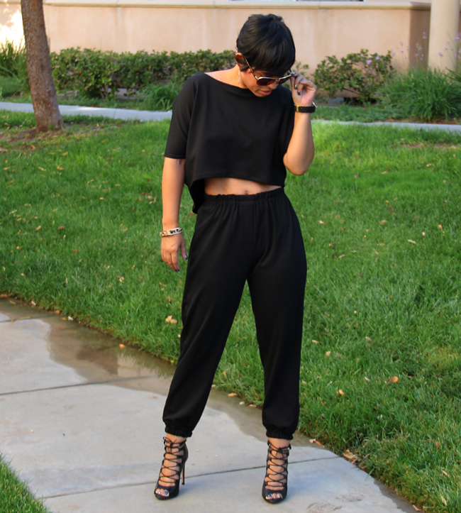 MIMI G DID IT AGAIN...LOVE IT...CROP TOP AND JOGGER PANTS
