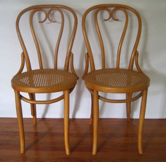 ETSY 2 Vintage Bentwood Cane Seat Cafe Bistro Chairs // ZPM By MyBarn
