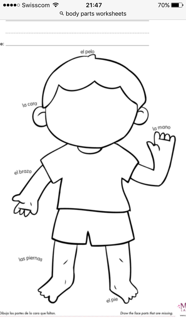 worksheet Spanish Worksheets Body Parts pin by lorena felix on spanish pinterest body parts printable worksheet for kindergarten
