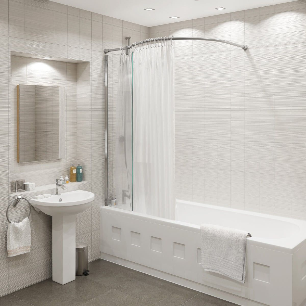 Curved Shower Screens Over Bath kudos inspire over bath shower panel with curved shower curtain rail