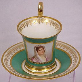 Fine Sevres Portrait Cup and Saucer. France  ca.1891 http://www.trocadero.com/judith/items/466629/item466629store.html#item.