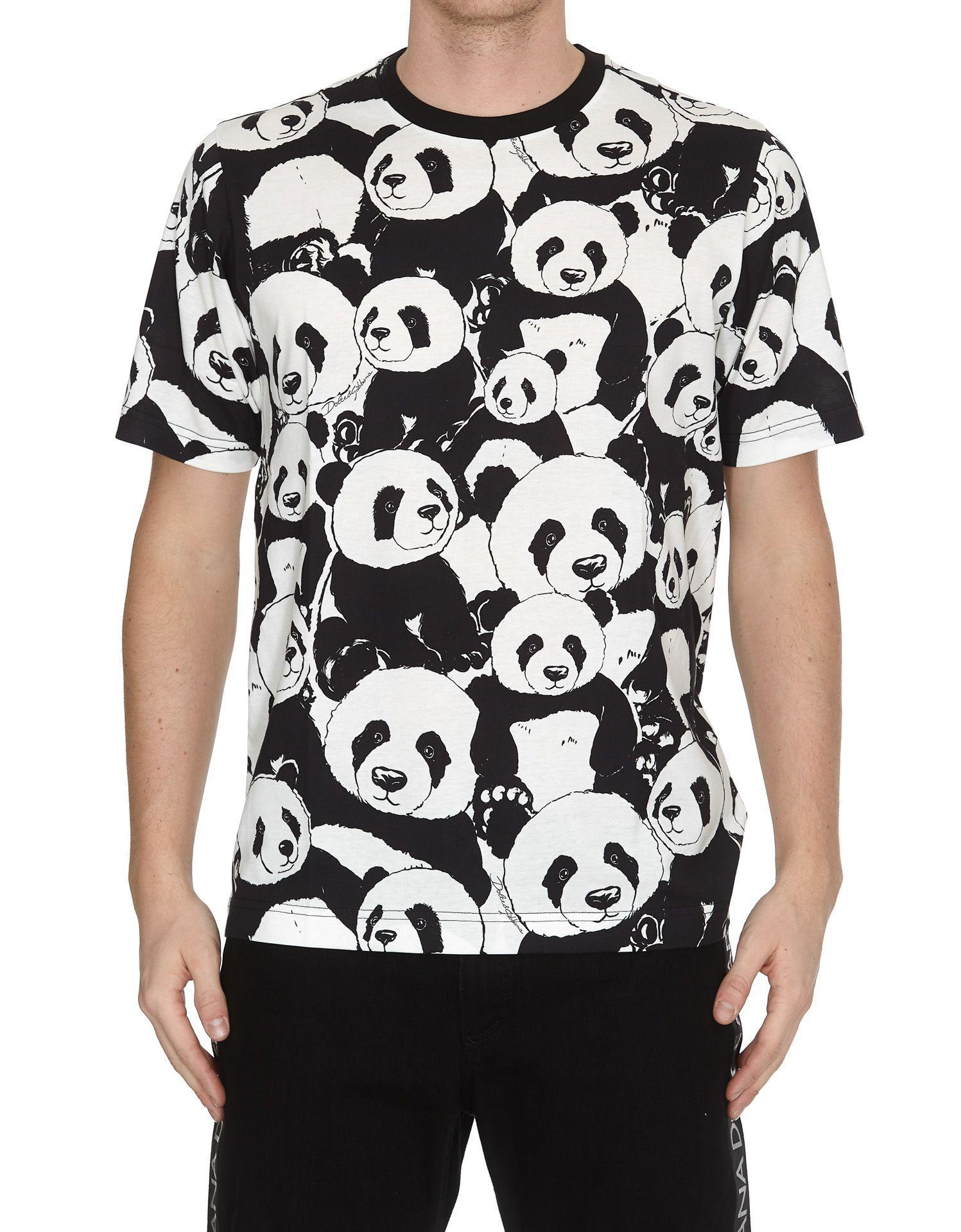 Dolce & Gabbana Panda Print T shirt In Hav86 Panda Fdo Panna