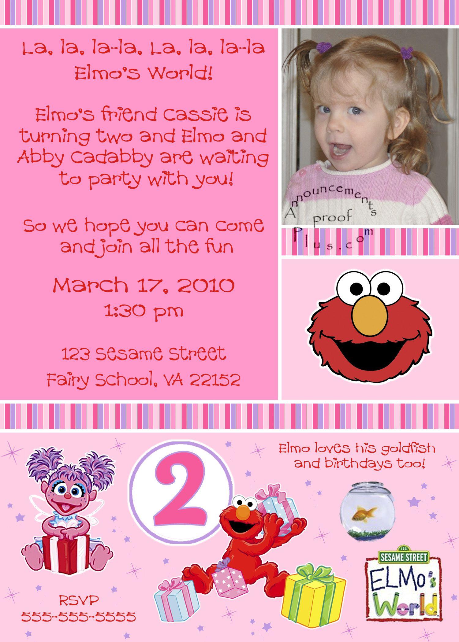 Abby Cadabby and Elmo Birthday Invitations Birthdays Pinterest