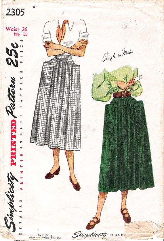 CLOSE OUT/ Simplicity 2305 1940s Soft Pleat Skirt with Pockets ...