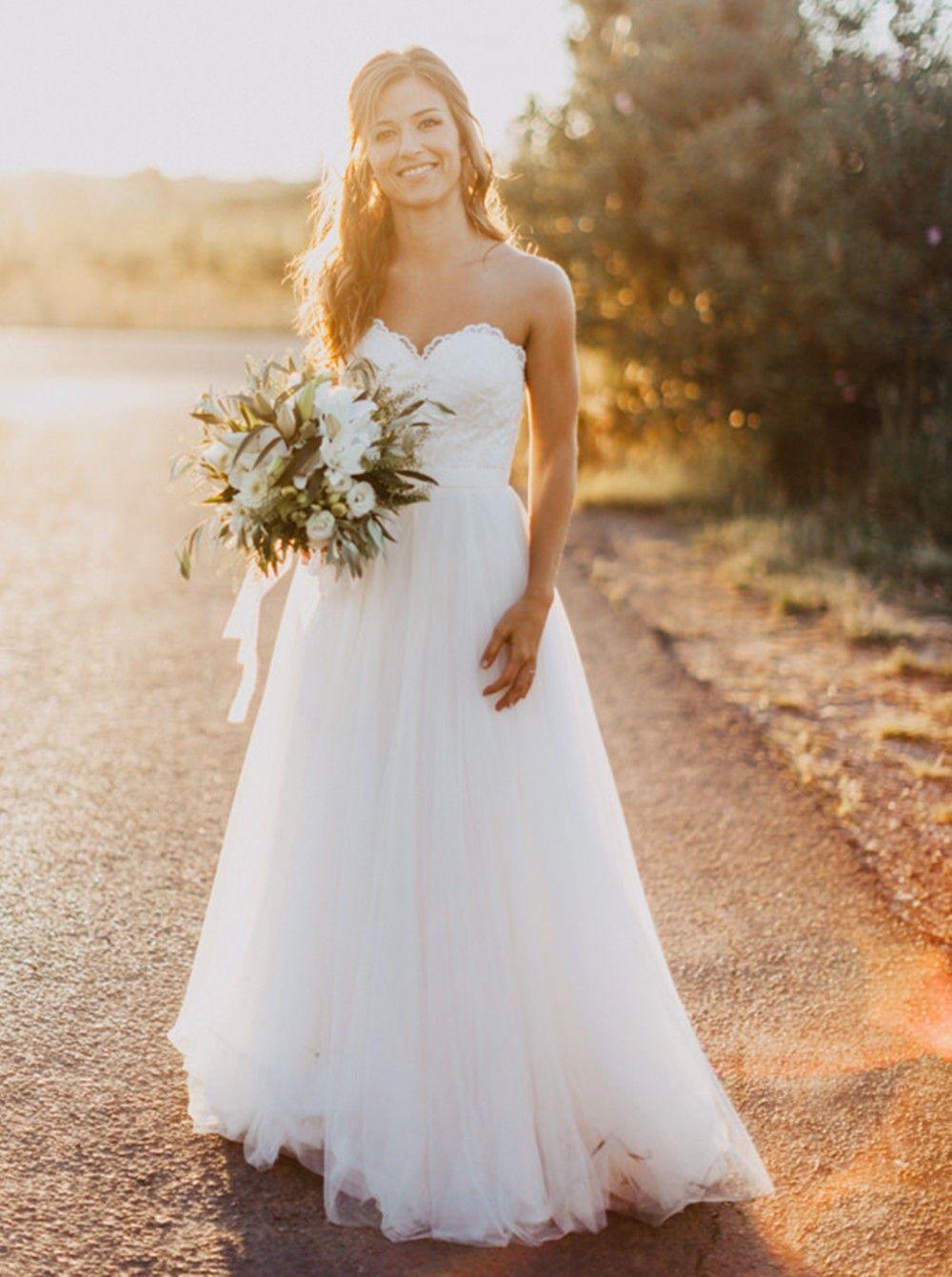Simple wedding dresses cheap  Buy Exquisite Sweetheart FloorLength Aline White Wedding Dress