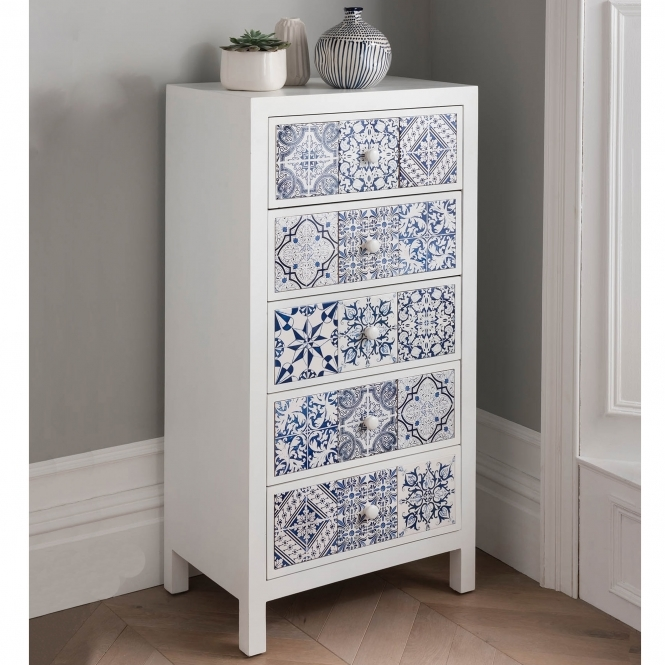 Spanish Mosaic Tiled Tallboy Chest in 2020 Blue chest of