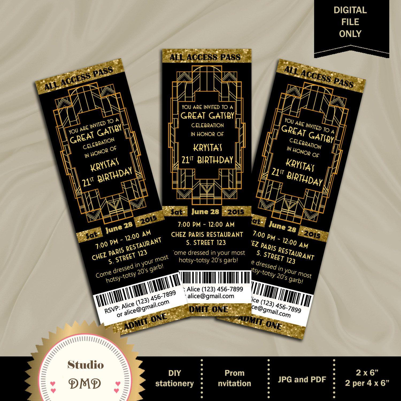 Great Gatsby Style Art Deco Party Invitation - Prom, Graduation ...