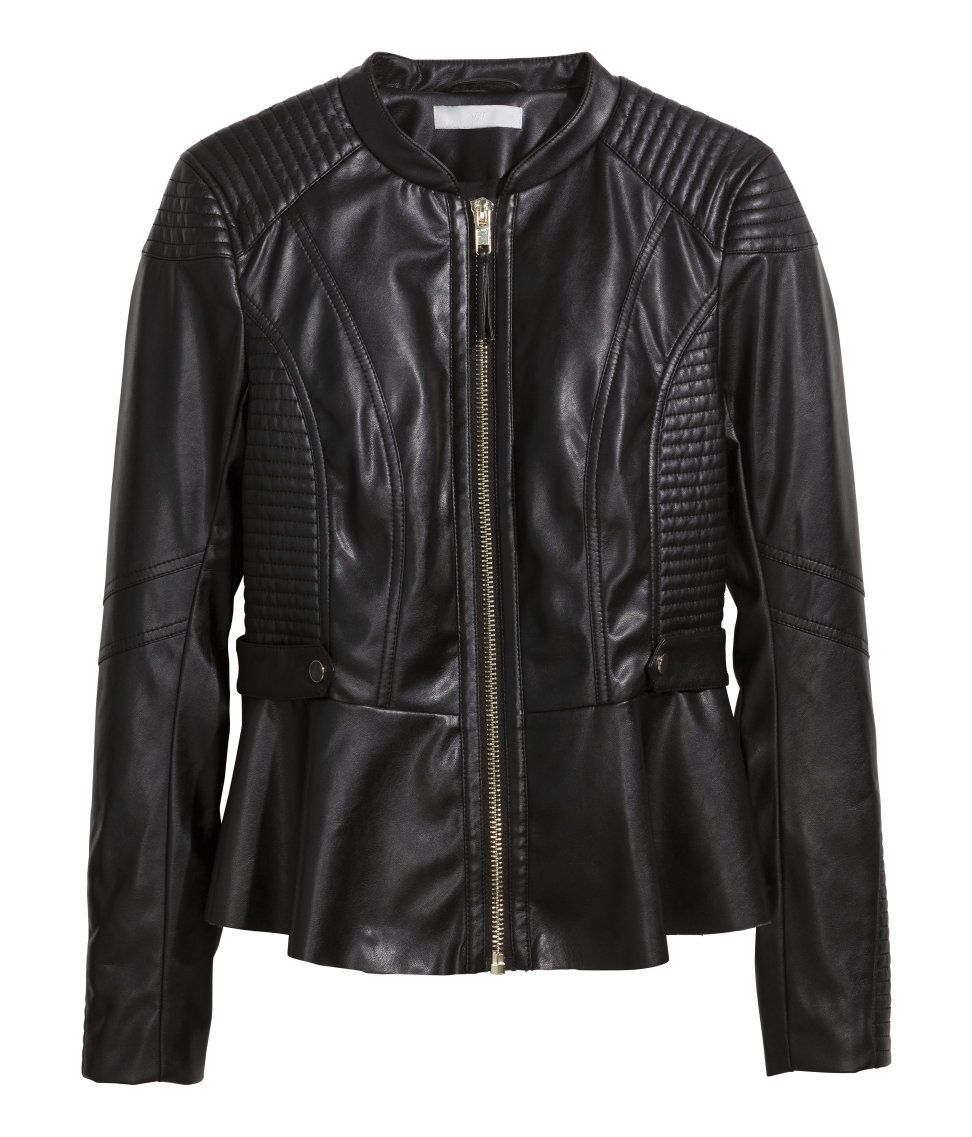 The edgy black biker jacket gets a feminine flourish with