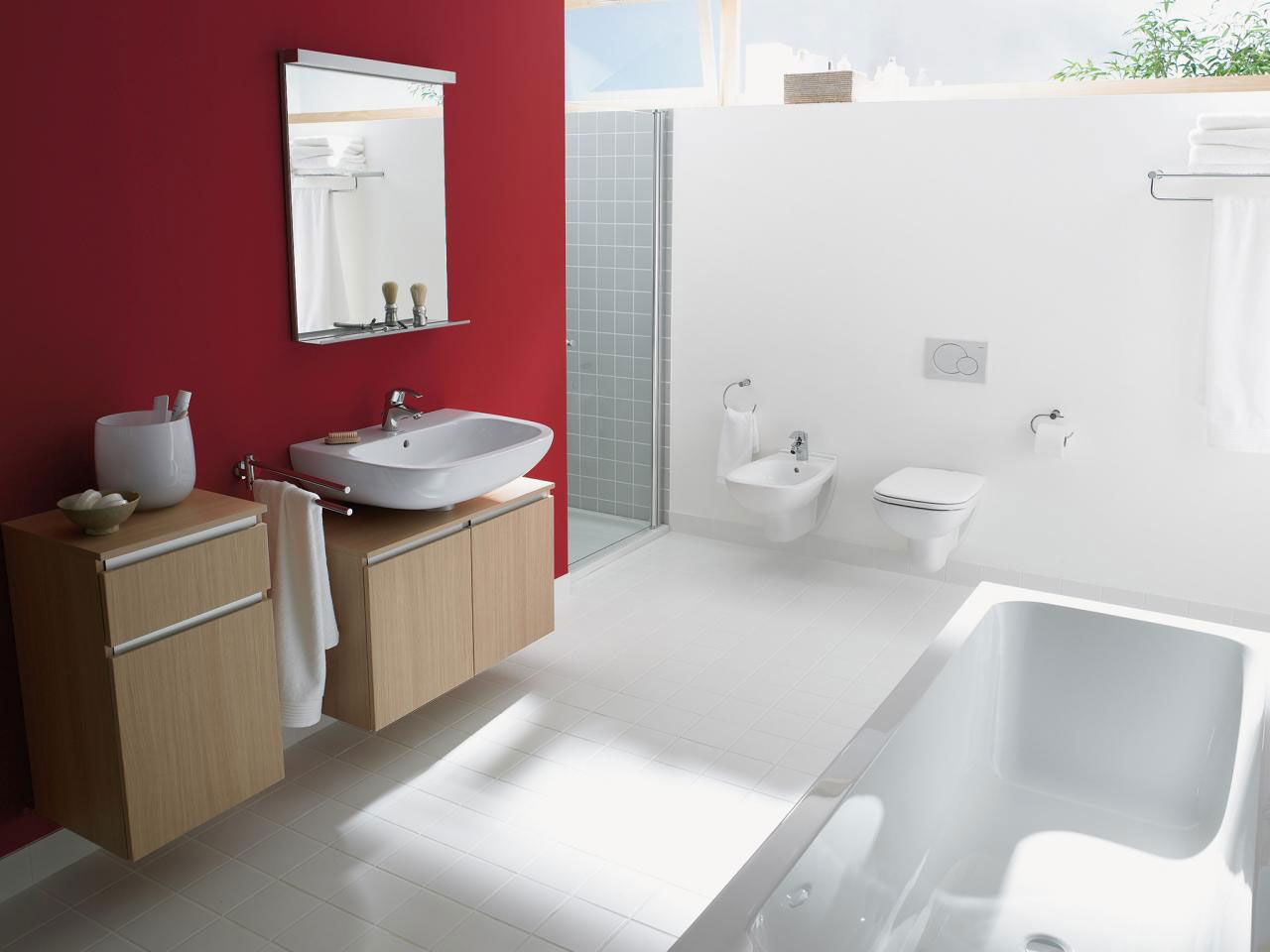 Dazzling Red And White Accent Wall Color With Vanity Sink Coupled By ...
