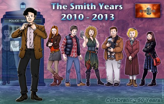 The Eleventh Doctor and his Companions - Idris, Amy, Rory, River, Craig & Stormageddon, Madge, & Clara!