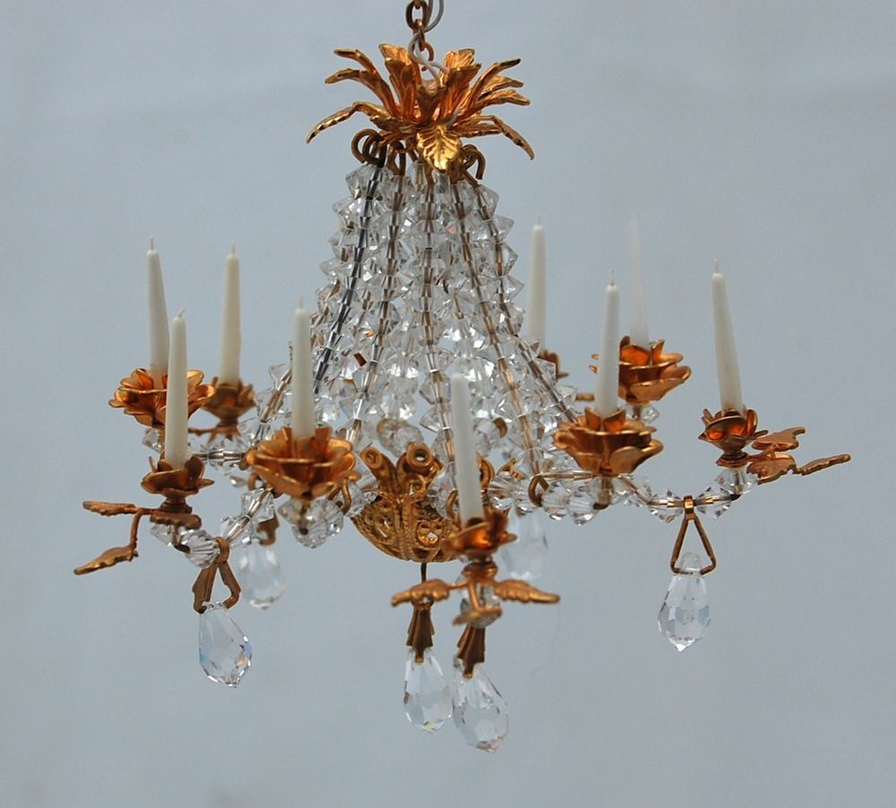 Vtg dollhouse miniature french gilt chandelier rose crystal vtg dollhouse miniature french gilt chandelier rose crystal artisan 112 scale arubaitofo Choice Image