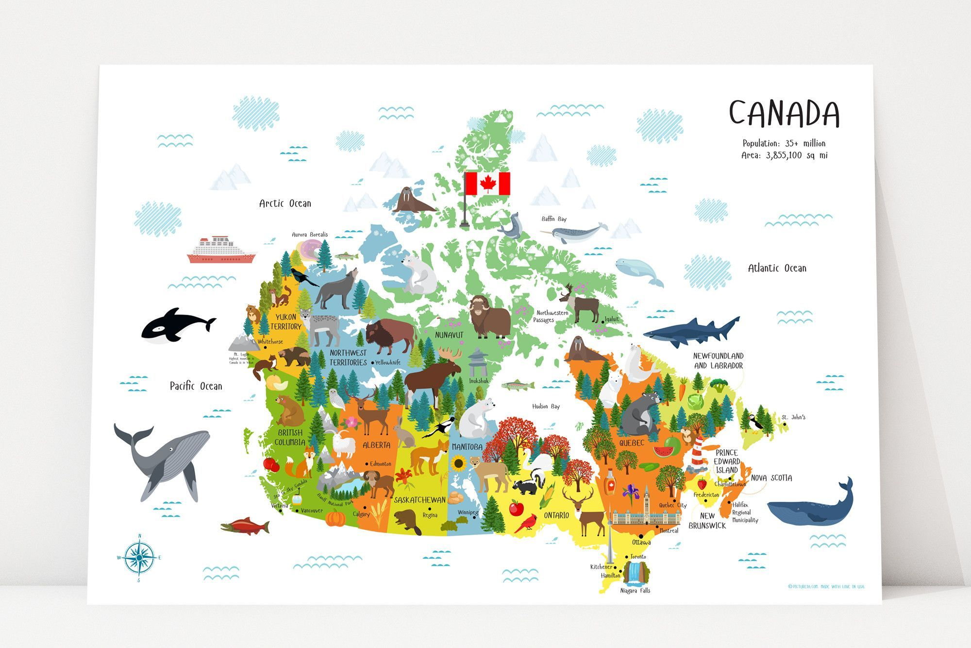 Canada map for kids playroom decor nursery decor pinterest map of canada for kids poster unique baby gift playroom art nursery decor classroom decor gumiabroncs Gallery