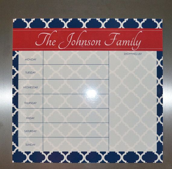 Weekly Planner/ Grocery List Planner-  Dry Erase Board- Choose your Colors