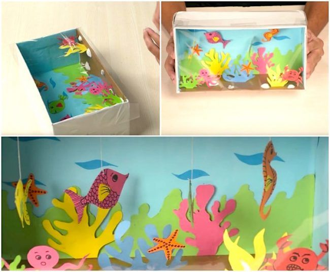 schuhkarton basteln kinder aquarium fische schnur kunst pinterest kinder aquarium. Black Bedroom Furniture Sets. Home Design Ideas