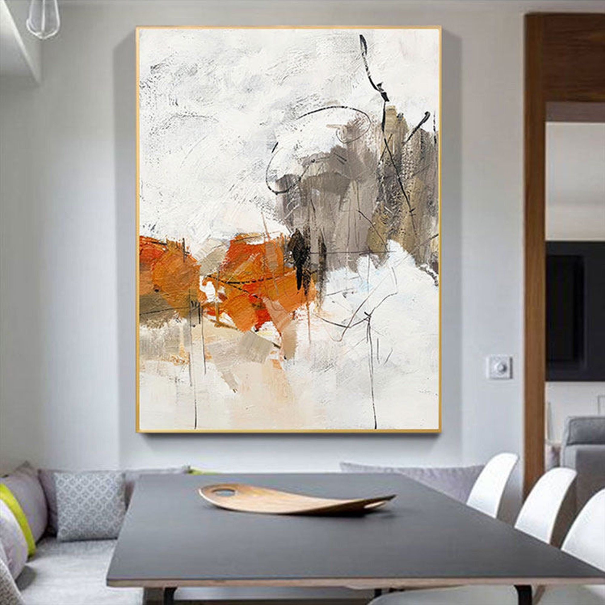Large Modern Abstract Art Palette Knife Art Rich Texture Orange Wall Art Original Acrylic Paintin Modern Art Abstract Large Modern Wall Art Orange Wall Art